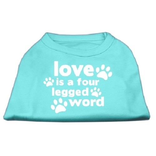 Love Is A Four Legged Word Screen Print Dog Shirt - Aqua | The Pet Boutique