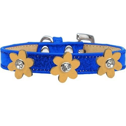 Metallic Flower Ice Cream Dog Collar - Blue With Gold Flowers | The Pet Boutique