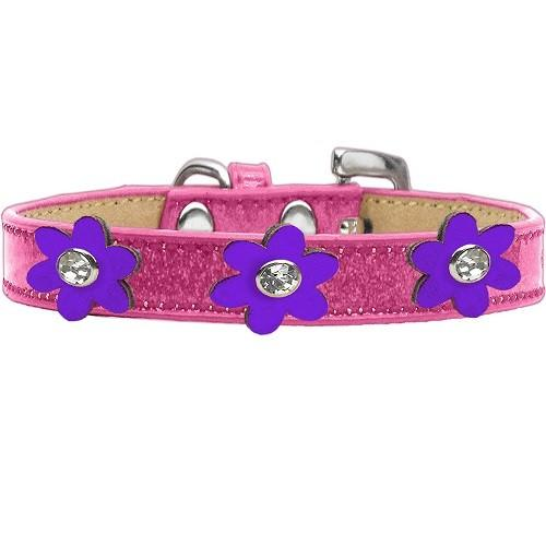 Metallic Flower Ice Cream Dog Collar - Pink With Purple Flowers | The Pet Boutique
