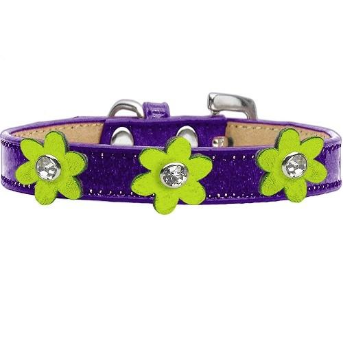 Metallic Flower Ice Cream Dog Collar - Purple With Lime Green Flowers | The Pet Boutique