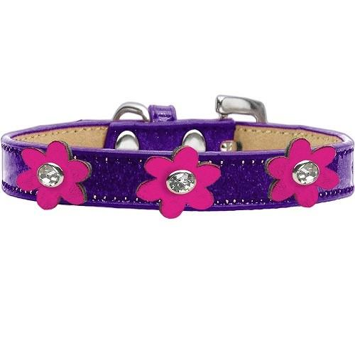 Metallic Flower Ice Cream Dog Collar - Purple With Pink Flowers | The Pet Boutique