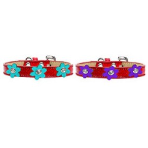 Metallic Flower Ice Cream Dog Collar - Red | The Pet Boutique