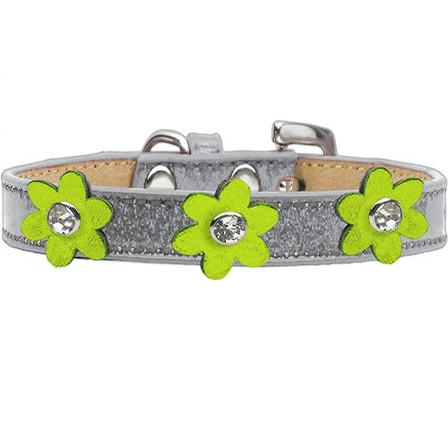 Metallic Flower Ice Cream Dog Collar - Silver With Lime Green Flowers | The Pet Boutique