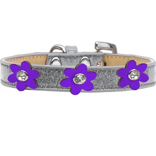 Metallic Flower Ice Cream Dog Collar - Silver With Purple Flowers | The Pet Boutique