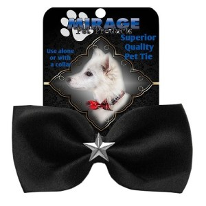 Silver Star Widget Pet Bow Tie - Black | The Pet Boutique