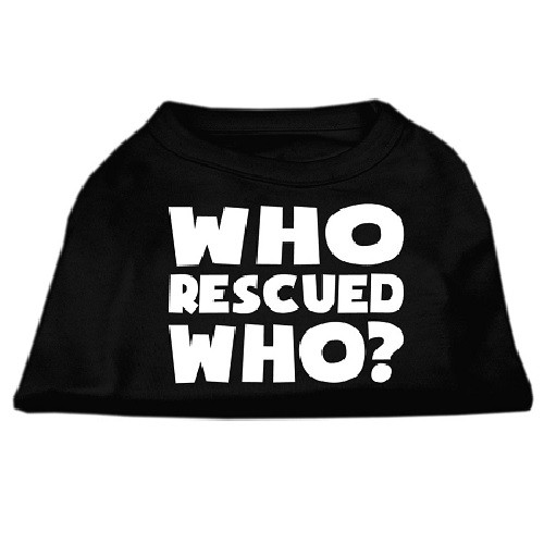 Who Rescued Who? Screen Print Dog Shirt - Black | The Pet Boutique
