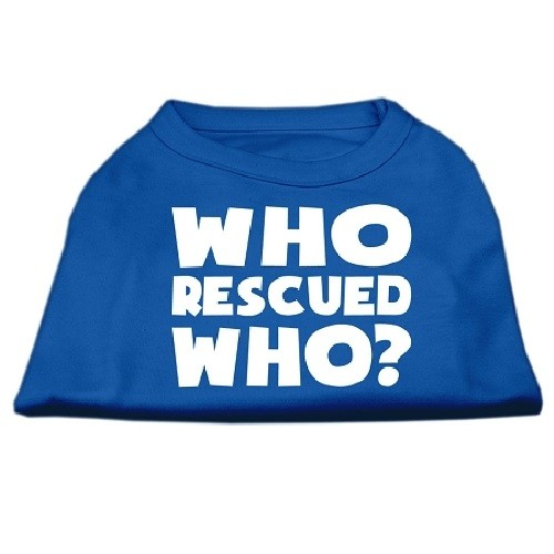 Who Rescued Who? Screen Print Dog Shirt - Blue | The Pet Boutique