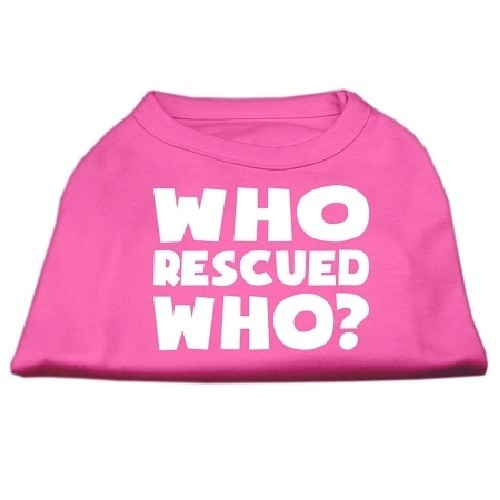Who Rescued Who? Screen Print Dog Shirt - Bright Pink | The Pet Boutique