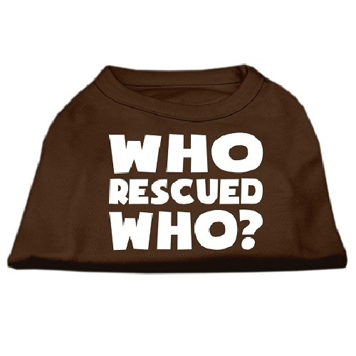 Who Rescued Who? Screen Print Dog Shirt - Brown | The Pet Boutique