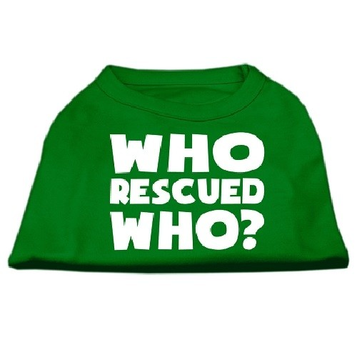 Who Rescued Who? Screen Print Dog Shirt - Green | The Pet Boutique