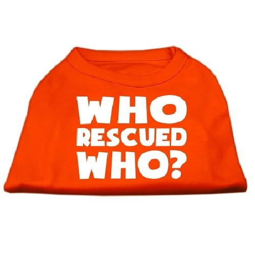 Who Rescued Who? Screen Print Dog Shirt - Orange | The Pet Boutique