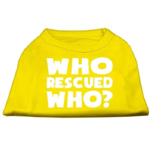 Who Rescued Who? Screen Print Dog Shirt - Yellow | The Pet Boutique