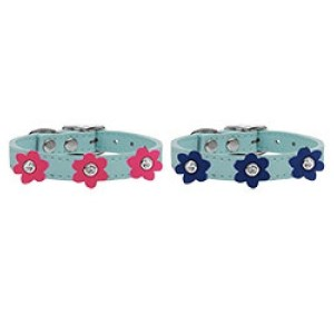 Flower Leather Dog Collar - Baby Blue | The Pet Boutique