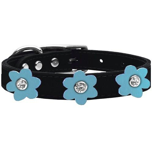 Flower Leather Dog Collar - Black With Baby Blue Flowers | The Pet Boutique