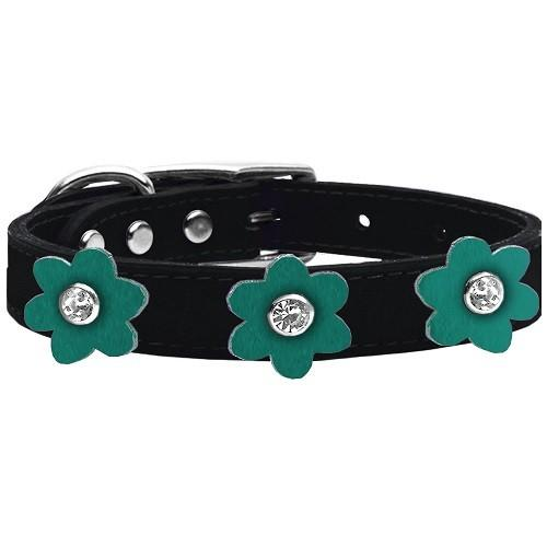 Flower Leather Dog Collar - Black With Jade Flowers | The Pet Boutique