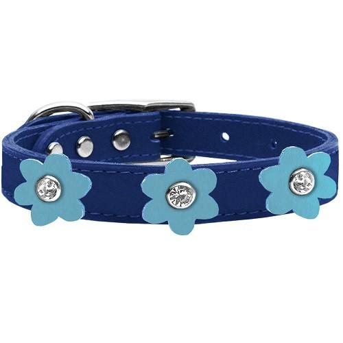 Flower Leather Dog Collar - Blue With Baby Blue Flowers   The Pet Boutique