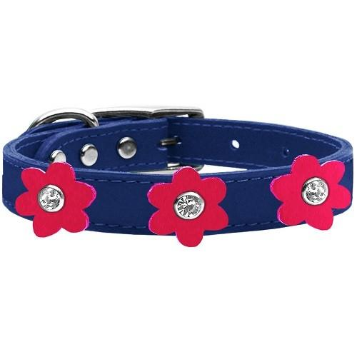 Flower Leather Dog Collar - Blue With Bright Pink Flowers   The Pet Boutique