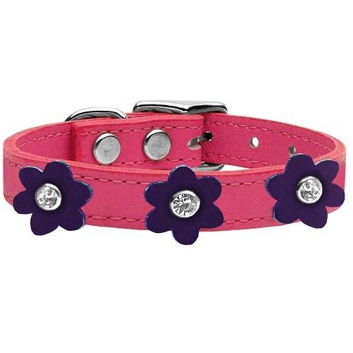 Flower Leather Dog Collar - Pink With Purple Flowers   The Pet Boutique