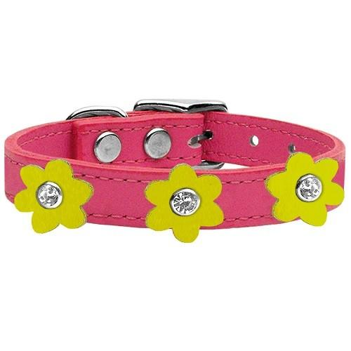 Flower Leather Dog Collar - Pink With Yellow Flowers   The Pet Boutique