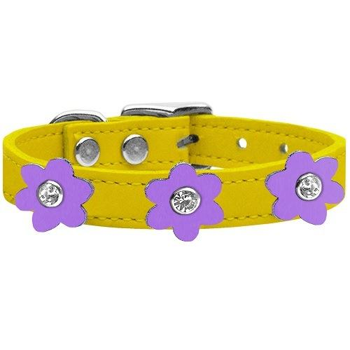 Flower Leather Dog Collar - Yellow With Lavender Flowers   The Pet Boutique