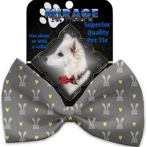 Gray Bunnies Pet Bow Tie Collar Accessory with Velcro   The Pet Boutique