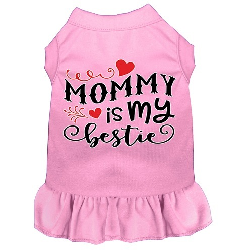 Mommy Is My Bestie Screen Print Dog Dress - Light Pink | The Pet Boutique