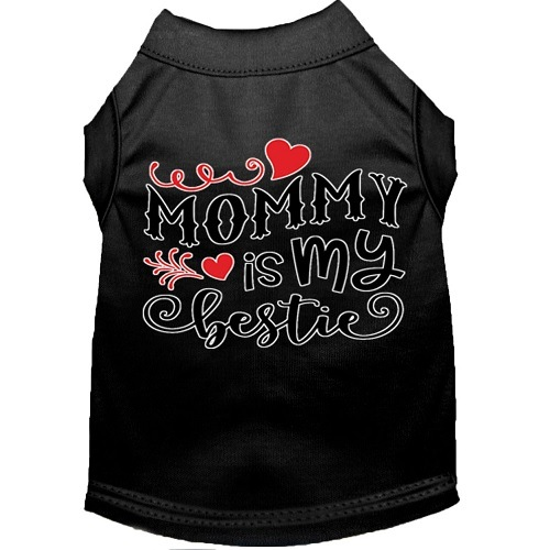 Mommy Is My Bestie Screen Print Dog Shirt - Black   The Pet Boutique