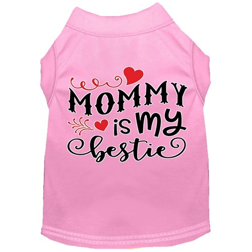 Mommy Is My Bestie Screen Print Dog Shirt - Light Pink   The Pet Boutique