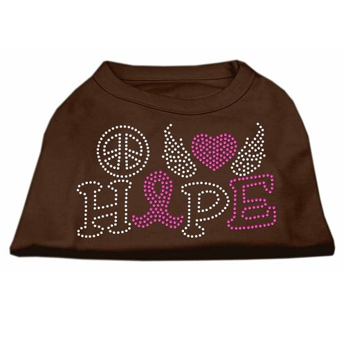 Peace, Love, Hope, Breast Cancer Rhinestone Dog Shirt - Brown | The Pet Boutique