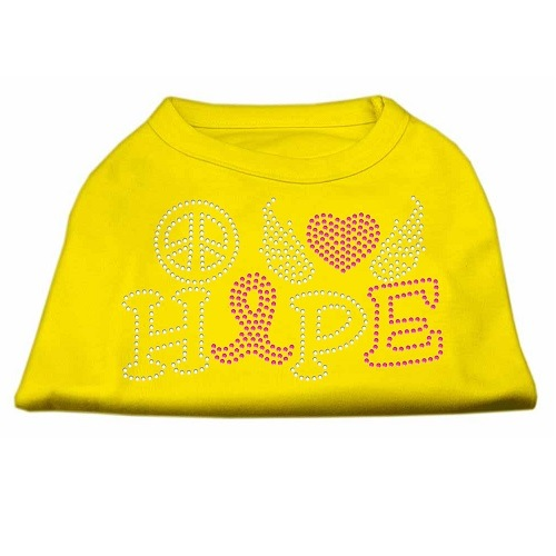 Peace, Love, Hope, Breast Cancer Rhinestone Dog Shirt - Yellow | The Pet Boutique