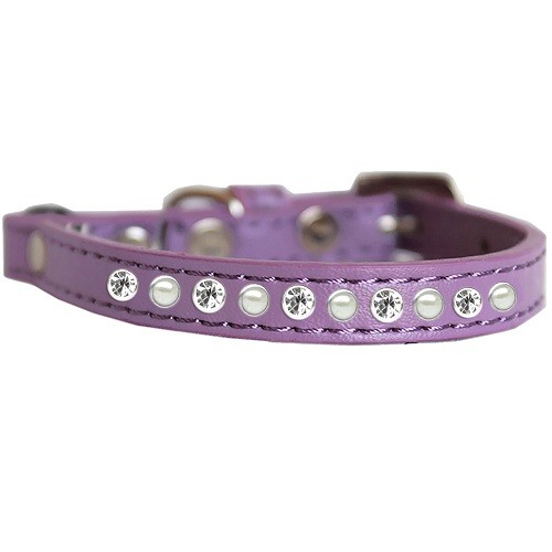 Pearl and Clear Jewel Cat Safety Collar - Lavender | The Pet Boutique