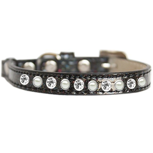 Pearl and Clear Jewel Ice Cream Cat Safety Collar - Black   The Pet Boutique