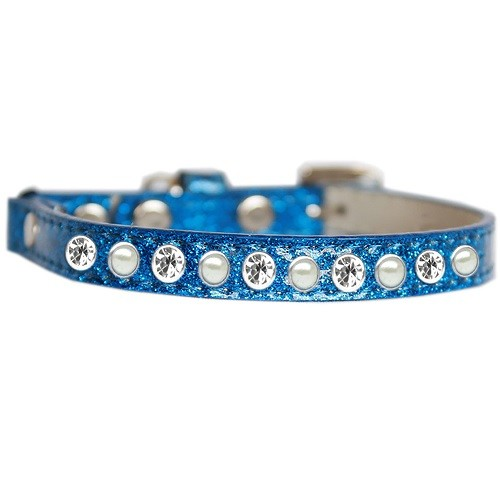 Pearl and Clear Jewel Ice Cream Cat Safety Collar - Blue   The Pet Boutique