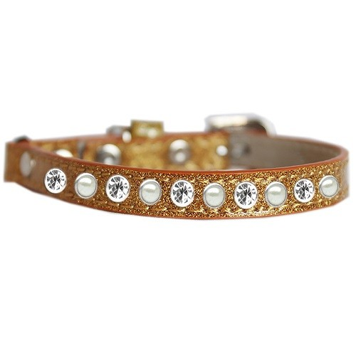 Pearl and Clear Jewel Ice Cream Cat Safety Collar - Gold   The Pet Boutique