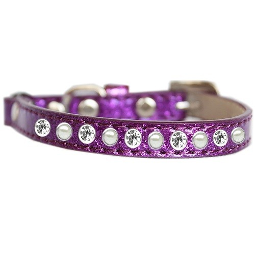 Pearl and Clear Jewel Ice Cream Cat Safety Collar - Purple   The Pet Boutique