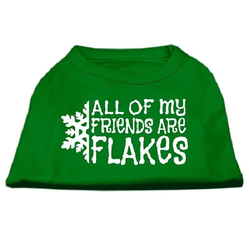All My Friends Are Flakes Screen Print Pet Shirt - Emerald Green | The Pet Boutique