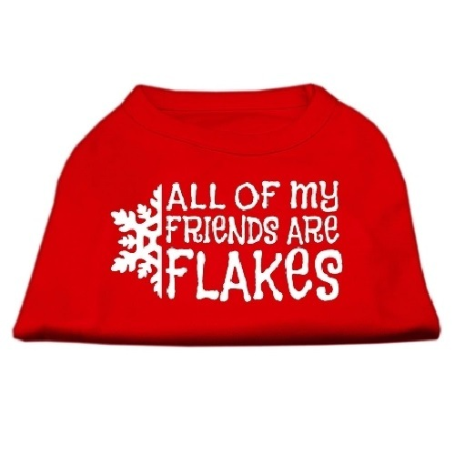 All My Friends Are Flakes Screen Print Pet Shirt - Red | The Pet Boutique