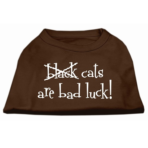 Black Cats Are Bad Luck Screen Print Pet Shirt - Brown | The Pet Boutique