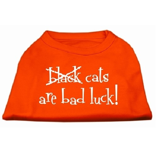 Black Cats Are Bad Luck Screen Print Pet Shirt - Orange | The Pet Boutique