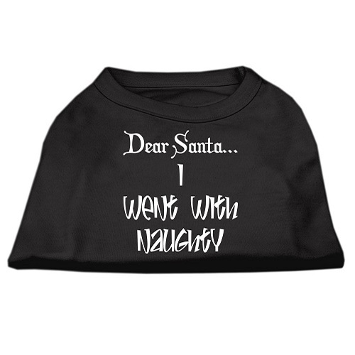 Dear Santa I Went With Naughty Screen Print Pet Shirt - Black | The Pet Boutique