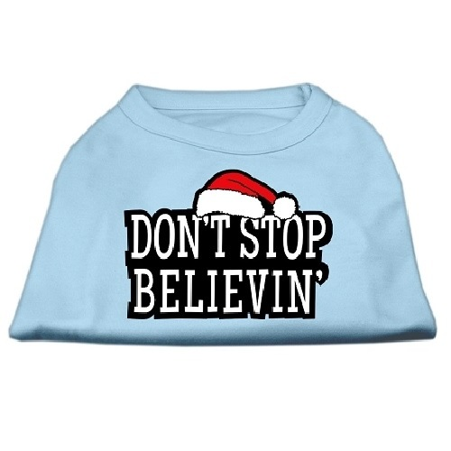 Don't Stop Believin' Screen Print Pet Shirt - Baby Blue | The Pet Boutique