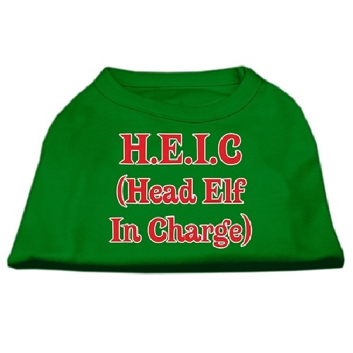 Head Elf In Charge Screen Print Pet Shirt - Emerald Green | The Pet Boutique