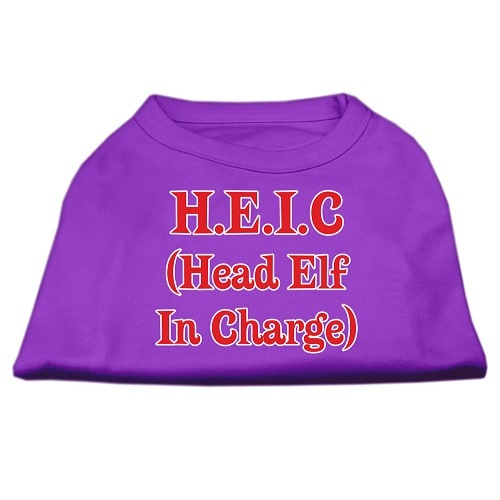 Head Elf In Charge Screen Print Pet Shirt - Purple | The Pet Boutique