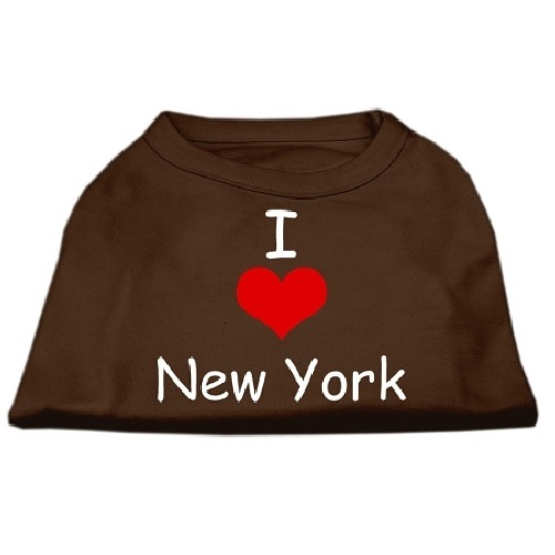 I Love New York Screen Print Pet Shirt - Brown | The Pet Boutique