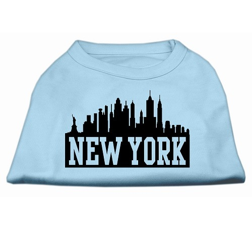 New York Skyline Screen Print Pet Shirt - Baby Blue | The Pet Boutique
