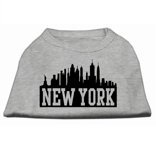 New York Skyline Screen Print Pet Shirt - Grey | The Pet Boutique
