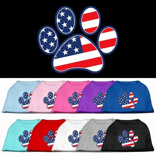 Patriotic Paw Screen Print Dog Shirt   The Pet Boutique