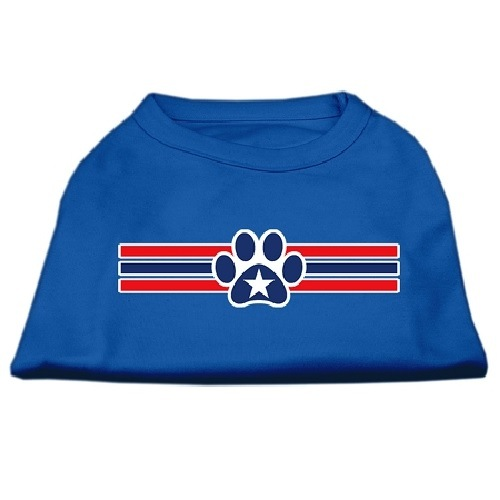 Patriotic Star Paw Screen Print Pet Shirt - Blue | The Pet Boutique