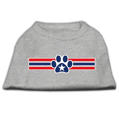 Patriotic Star Paw Screen Print Pet Shirt - Grey | The Pet Boutique