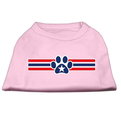Patriotic Star Paw Screen Print Pet Shirt - Light Pink | The Pet Boutique